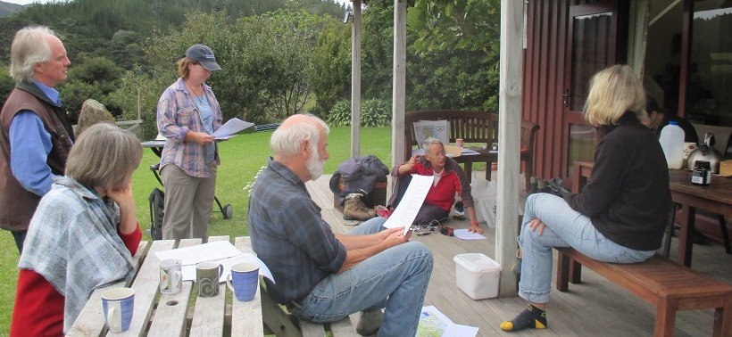 Volunteers getting kiwi listening training by Moehau Environment Group